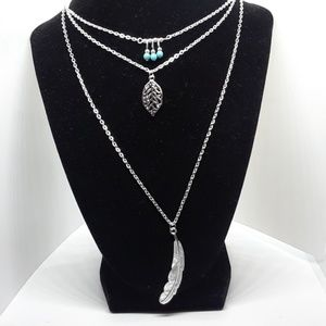 Silver Plated Muti-Layered Charm Necklace